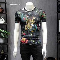 2019 Spring Mens T Shirt O collar Short sleeve Tiger pattern Men T Shirt For Male natural silk TShirt Business men's Tees