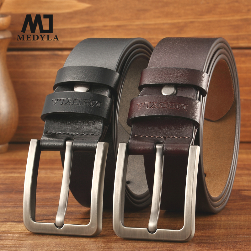 medyla cowhide genuine leather   belts   for men brand Strap male pin buckle vintage jeans   belt   100-125 cm long waist   belt   Free