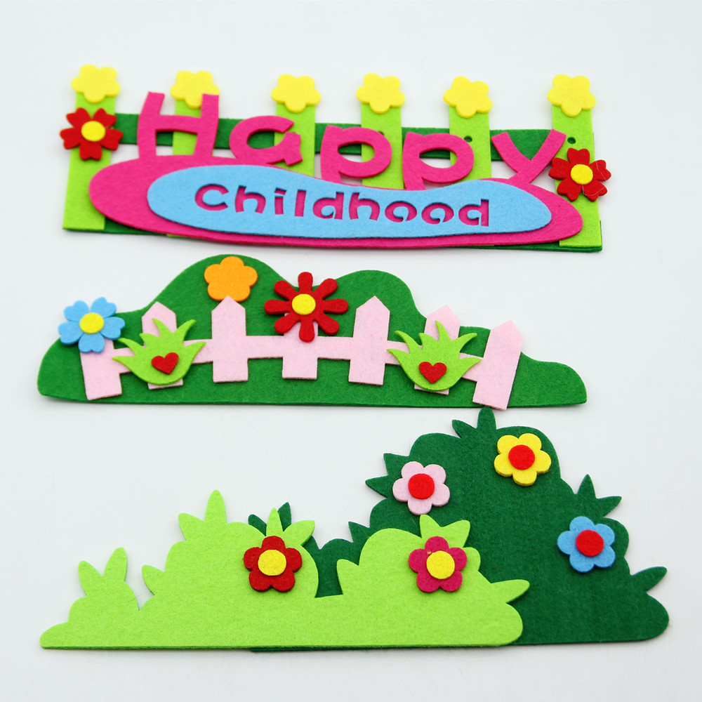New Design Flowers Grass Fence Free Cutting Felt DIY Stickers For DIY Kindergarten Home Kids Room Decoration Handmade Cute Craft