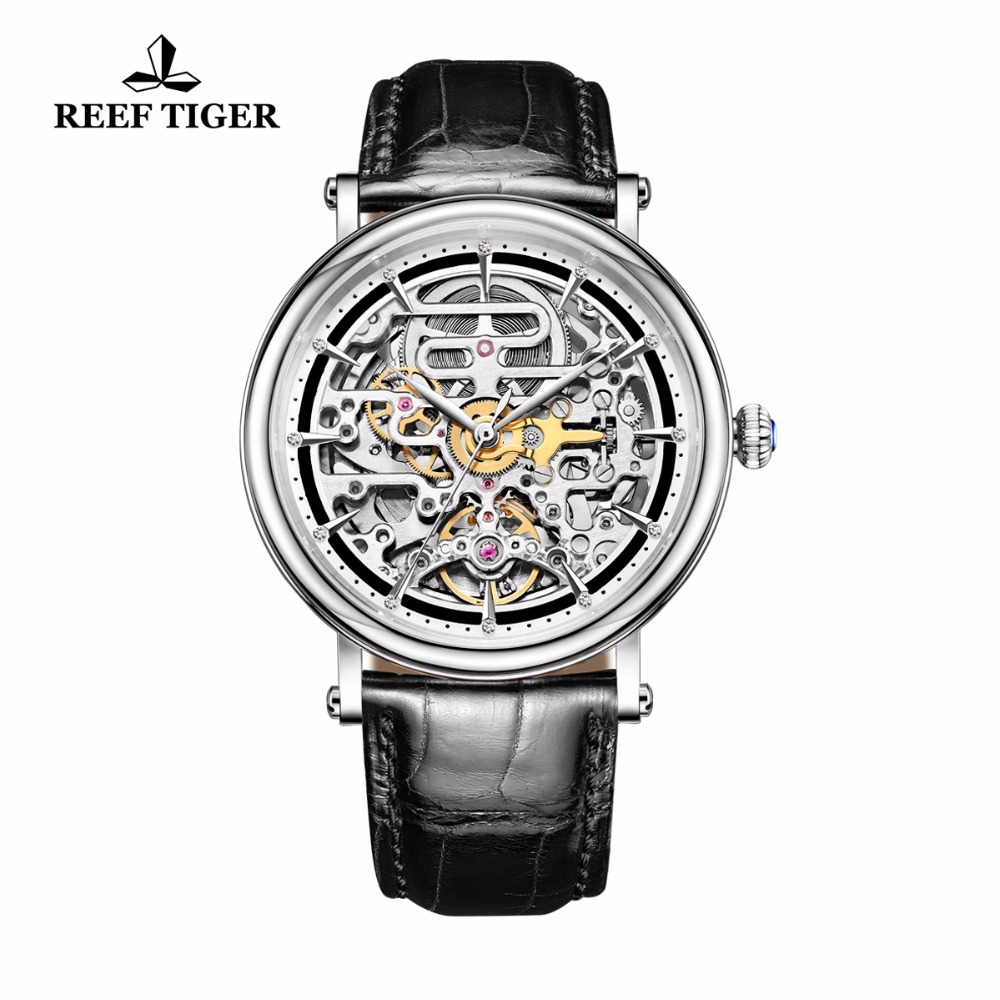 Reef Tiger / RT Vintage Style Mens Ultra Tunna Skelett Dial Automatiska Business Klockor Rose Gold Kalvskinn Leather Watch RGA1917