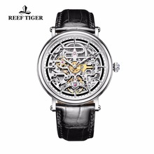 Reef Tiger/RT Vintage Style Mens Ultra thin Skeleton Dial Automatic Business Watches Rose Gold Calfskin Leather Watch RGA1917