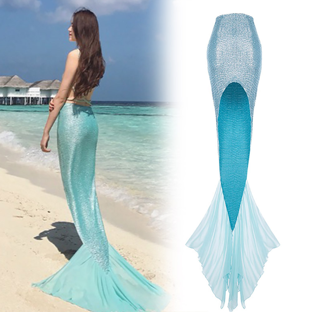 Deluxe Mermaid Tail Skirt Long Sweep Train Mermaid Skirt Sexy Women's Shiny Blue Turquoise Stretch Fish Tail Dress One Size Fits