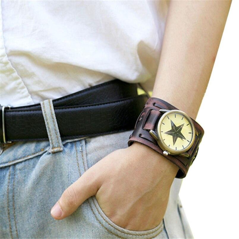Broen Clock relogio masculino Quartz Fashion reloje hombre Faux Leather mens watch Analog Wrist watch erkek kol saati