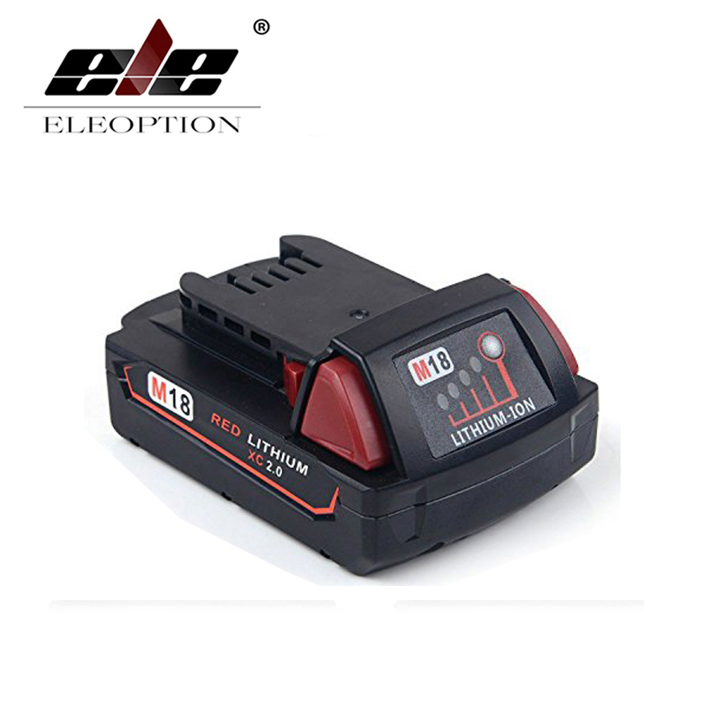 ELEOPTION 2000mAh 18V Li-Ion Replacement Rechargeable Power Tool Battery for Milwaukee M18 XC 48-11-1820 M18B2 M18B4 M18BX 1set rc gasoline engine starter aluminum alloy portable starter for 26 27 30 32cc remote control gasoline engined model boat
