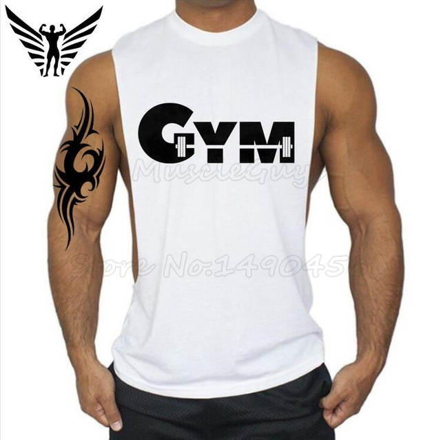 37530dfcb447b Muscleguys Brand Cool Barbell Gyms Clothing Men Bodybuilding and Fitness  Shirts Cotton Workout Stringers Tank Top