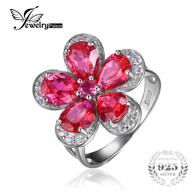 Silver Plated Ruby Flower Cocktail Ring