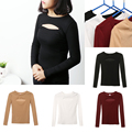 1Pc New Fashion Women Lady Sexy Autumn Winter Open Chest Long Sleeve Sweater Kintted Shirt Sweaters