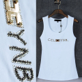 Fashion letter pattern rhinestone Solid Tank top Women cotton 95% O neck brand singlet top girls sexy elegant summer