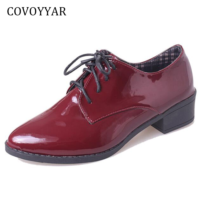COVOYYAR 2018 Patent Leather Oxfords Shoes For Women Spring Autumn British Pointed Toe Women Flats Lace Up Brogue Shoes WFS361 spring autumn women flats oxford derby brogue pu patent leather square toe lace up vintage sexy casual dress office ladies shoes