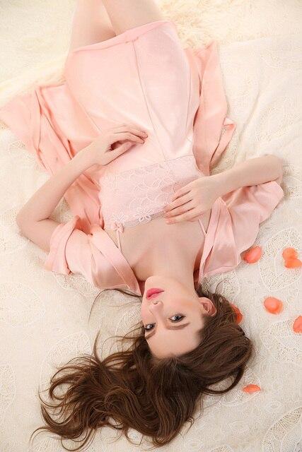 Amazing 2 Pcs A Set Sexy Lingerie Nightdress Lady Robe Sleepwear Gown Bathrobe Pajamas Women Silk Bathrobe Robes
