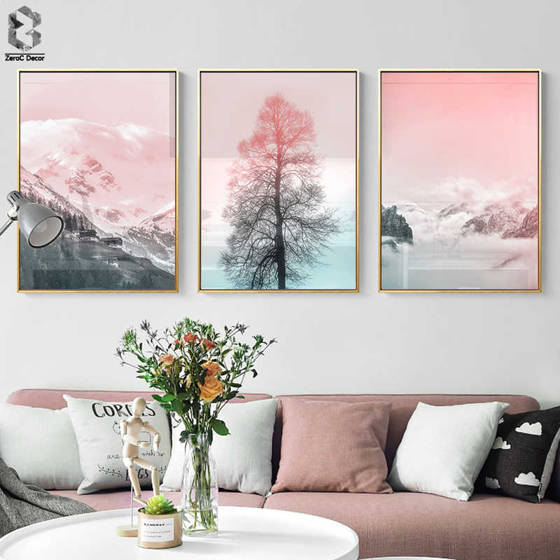 Pink Mountain Tree Landscape Canvas Painting Wall Art Posters and Print Girl Nodic Decorative Wall Pictures For Living Room
