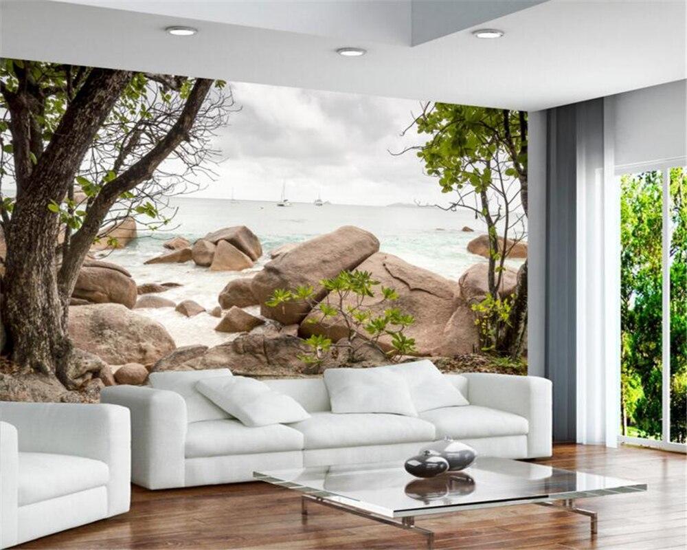 Beibehang 3 d Gobi Desert Stone Tree Background wallpaper Living ...