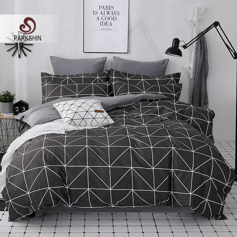 ParkShin 2019 New AB Side Bedding Set Duvet Cover Set King Queen Full Twin Bed Linen Brief Bed Flat Sheet Pillowcases Mans Cover-in Bedding Sets from Home & Garden