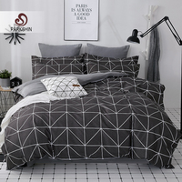 ParkShin 2019 New AB Side Bedding Set Duvet Cover Set King Queen Full Twin Bed Linen Brief Bed Flat Sheet Pillowcases Mans Cover
