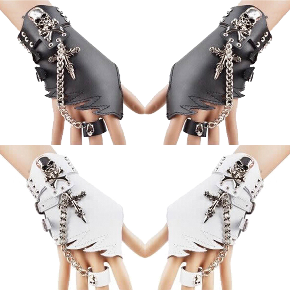 Punk Design Handmade Gothic Leather Pair Fingerless Performance Glove With Teeth For Women Tactical Gloves
