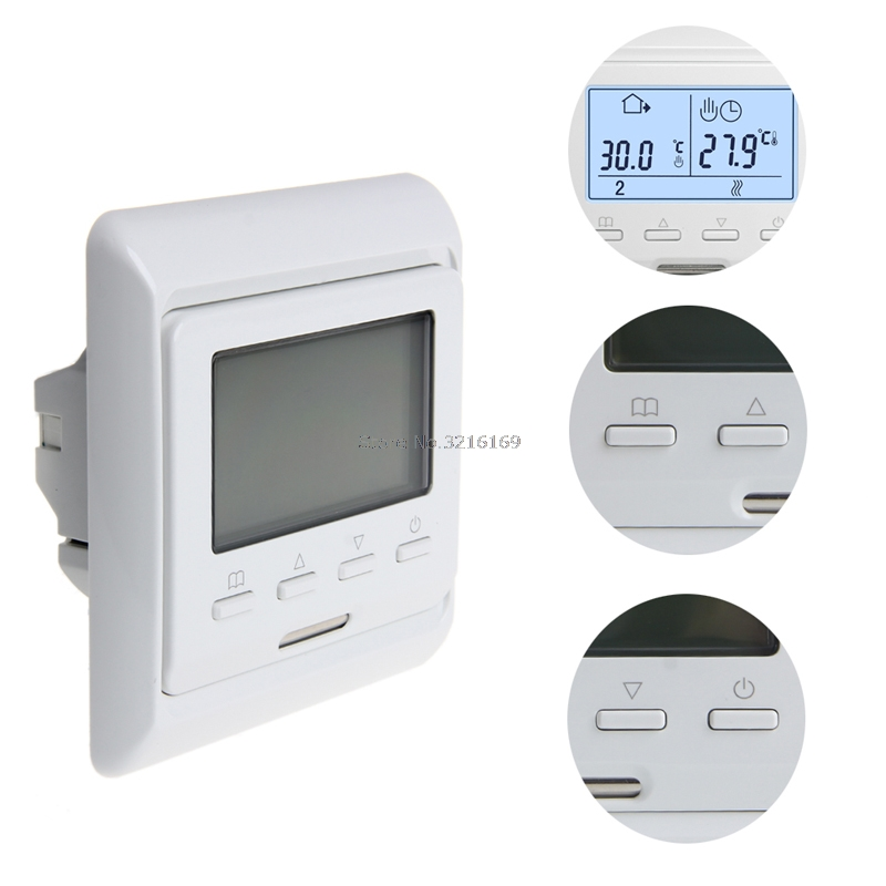 For 230V LCD Weekly Programmable Electrical Heating Air Thermostat Floor Controller Promotion digital touch screen thermostat lcd programmable thermostat temperature controller switch room floor heating thermostat home use