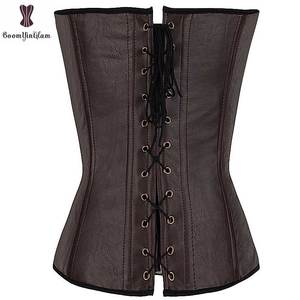 Image 3 - Coffee Steampunk Corset Women Sexy Neck Strap Black Gothic Corsets And Bustier Overbust Outwear corselet Top Fashion Corselet