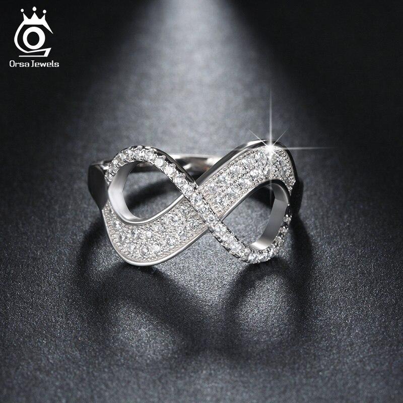 Angemessen Orsa Juwelen Beliebte Mädchen Finger Unendlichkeit Ring Aaa Österreichischen Zirkonia Ringe Mode Silber Farbe Schmuck Geschenk Or108 Top Wassermelonen Schmuck & Zubehör