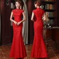Fashion Red Lace Cheongsam Modern Chinese Traditional Wedding Dress Women Vestido Oriental Stand Collars Sexy Long