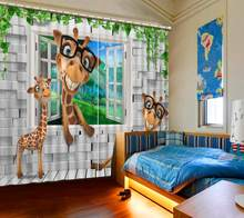 blackout curtains customize animal curtains living room Bedroom curtains for baby room stereoscopic curtains(China)