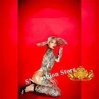 K21 сексуальный женский леопардовый боди для ребенка для выступления певца комбинезон dj головные уборы, бальных танцев костюмы платье для вы