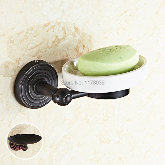 All Copper Bathroom Soap Dishes,wall Mounted Black Soap Holder,European  Style Bronze Soap