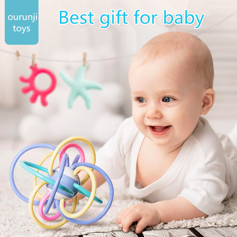 0 12 Months Baby Toy Ball Rattles Develop Baby Intelligence Plastic Hand Bell Rattle baby rattles