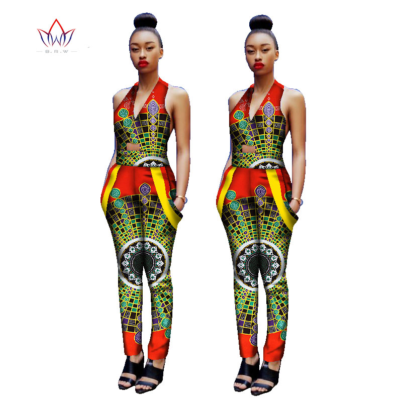 womens clothing vintage african print jumpersuit v-neck dashiki plus size feminino 5xl cotton clothing sleeveless none WY1126