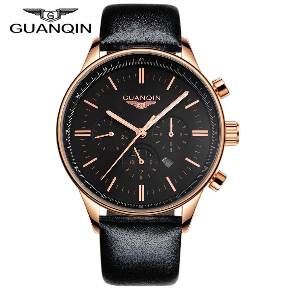 ФОТО Luxury GUANQIN Watches Men Relogio Masculino Quartz Watch Waterpoof Leather Watches Men Luxury Brand Gold Black Wristwatches