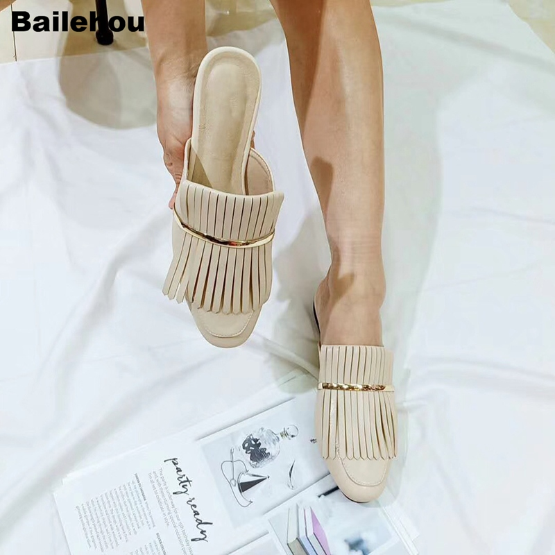 Bailehou Women Brand Slippers Flat Casual Mule Shoes Low Heel Tassel Slides Slip On Loafer Fashion Buckle Shoe Female Chaussure