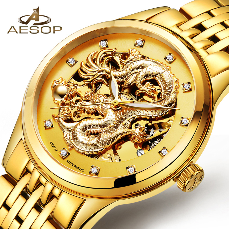 AESOP Special Dragon Watch Men Luxury Gold Automatic Mechanical Watch Sapphire Golden Wristwatch Male Clock Relogio Masculino