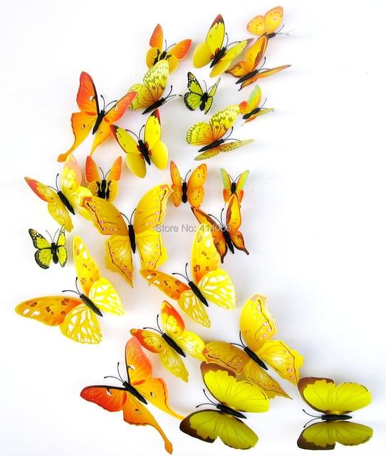 Free shipping 12pcs Yellow 3D Butterfly Wall Stickers Butterflies ...