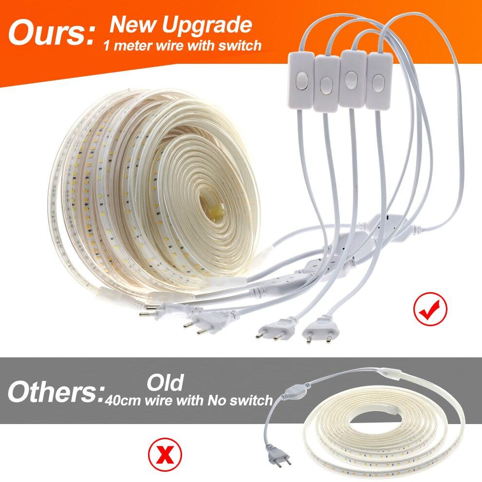HTB1ktI1eRWD3KVjSZKPq6yp7FXaG 220V LED Strip 2835 High Safety High Brightness 120LEDs/m Flexible LED Light Outdoor Waterproof LED Strip Light.