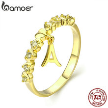 BAMOER Real 925 Sterling Silver Gold Color Letter A and Heart Finger Ring for Women Anel Anniversary Engagement Jewelry SCR264
