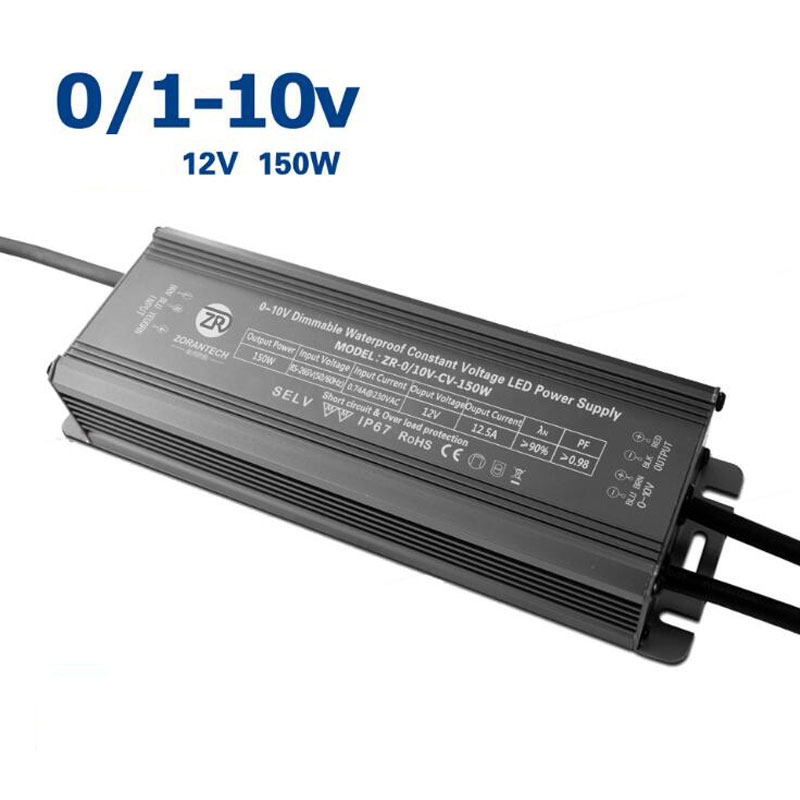 LED 150W 0-10V Dimming Drive Power Supply DC 12V External Constant Voltage and Dimmable Waterproofing Driver for Light Box kvp 24200 td 24v 200w triac dimmable constant voltage led driver ac90 130v ac170 265v input