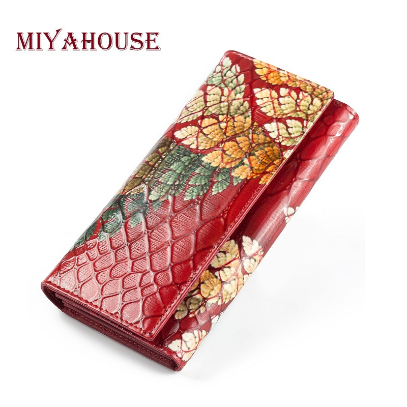 Miyahouse Genuine Leather Female Wallets Embossed Leaves Long Purses Luxury Leather Hasp Clutch Purse Lady Card Holder Wallet цена