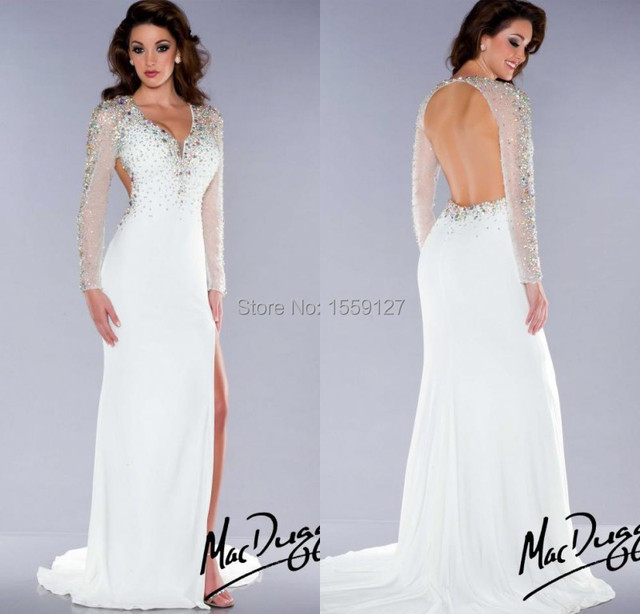 Aliexpress.com : Buy Cheap Slim Fitted White Prom Dress 2017 V ...