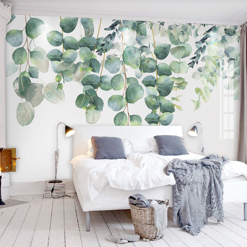 Modern 3D Murals Wallpaper Green Plant Leaves Photo Wall Cloth Living Room Bedroom Waterproof Eco-Friendly Papel De Parede 3 D