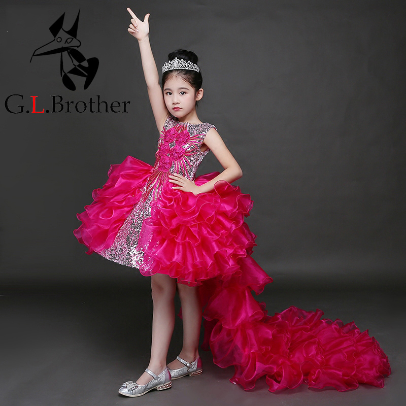 High Quality Girl Fluffy Quality Chiffon Girls Dress Summer2017 Red Bail Sleeveless O Neck Girls Dress For Party Kid Clothes P33 red mock neck lettuce edge hem mini dress