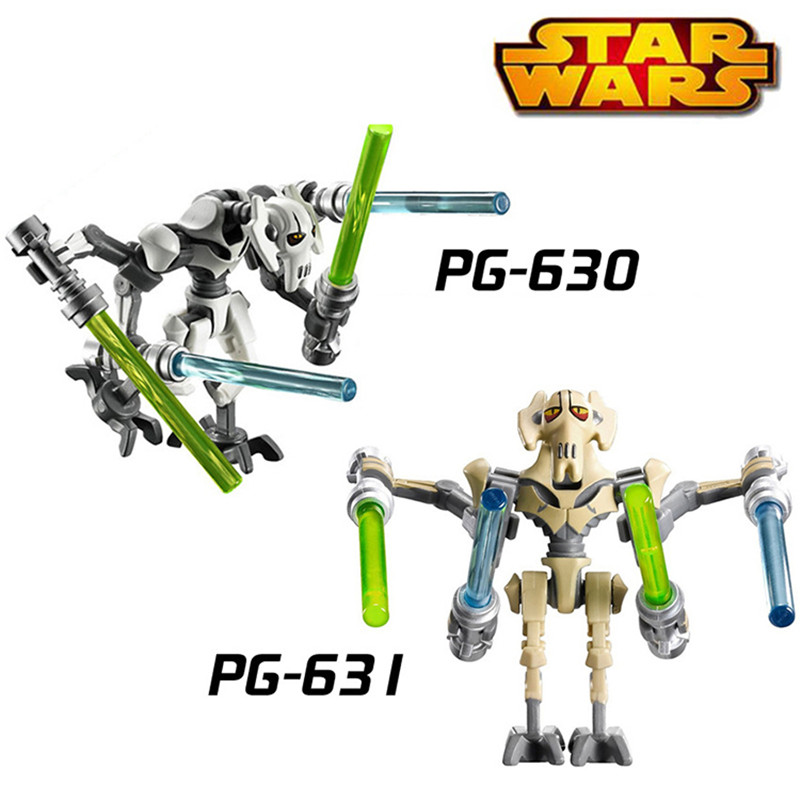 1PC Star Wars Building Blocks Super Heroes Diy Figures Silver Gold General Grievous With Legoingly Bricks Kids DIY Toys Hobbies building blocks agent uma thurman peeta dc marvel super hero star wars action bricks dolls kids diy toys hobbies kl069 figures