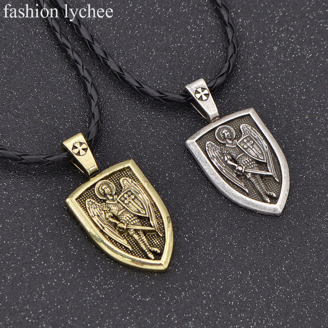 Fashion lychee sheild men necklace archangel stmichael protection fashion lychee sheild men necklace archangel stmichael protection saint charm pendant vicking necklace for aloadofball Image collections