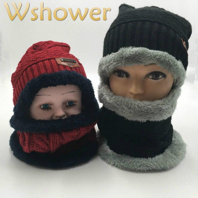 Neck Warmer Winter Hat For Kids Boy Girl Thickened Fleece Liner Knitted Beanie Scarf Set Children Ring Scarf Winter Cap Set
