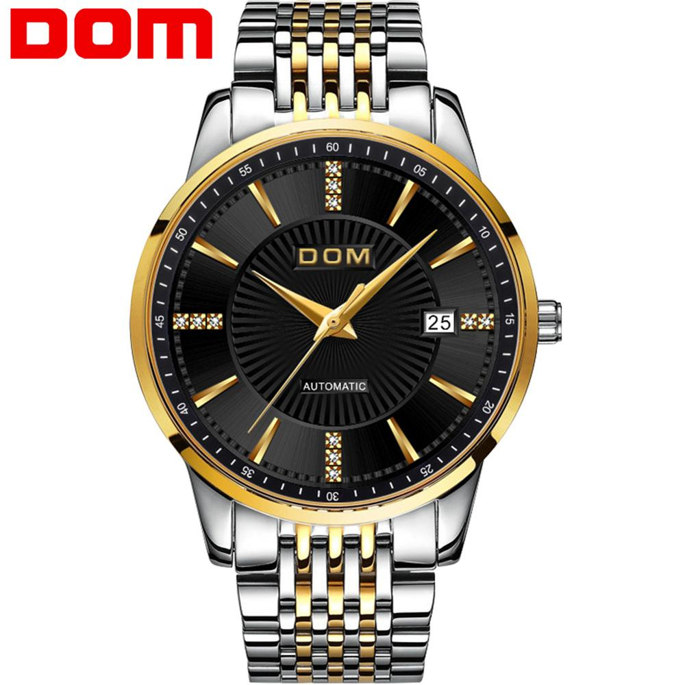 Dom Men Watch Top Brand Luxury Automatic Stainless Steel Watch Men Japanese Movement Mechanical Gold Business