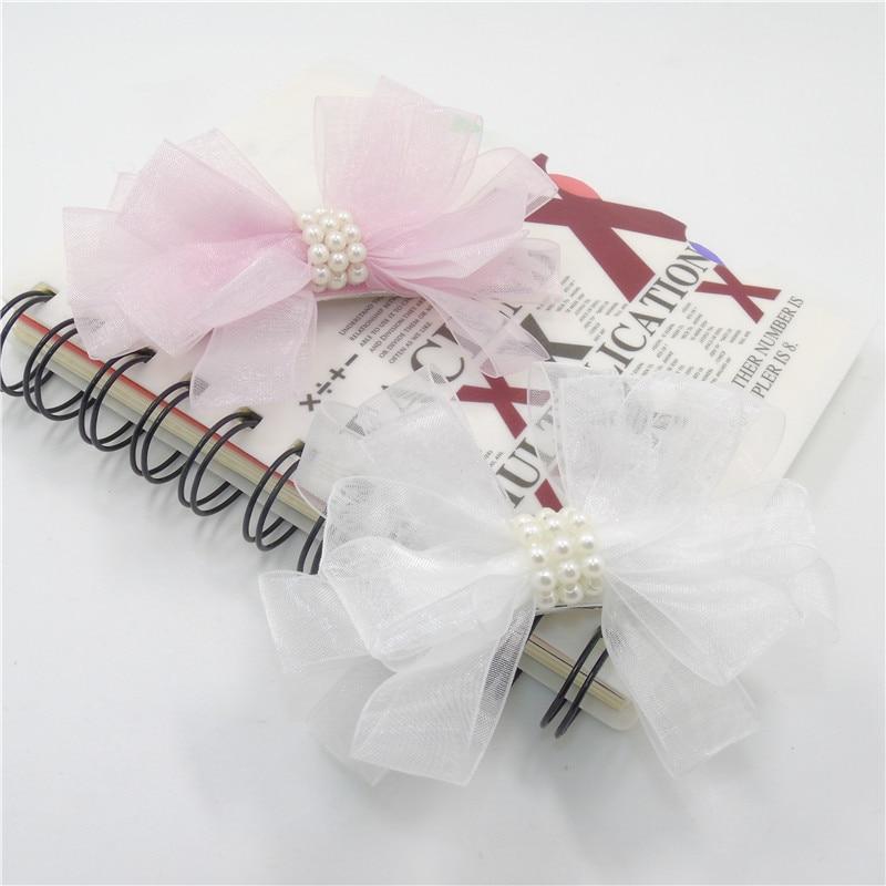 10 шт./лот бабочка галстук заколки бантом газовое волос ткани сбоку волосы ручки милые белые заколки с жемчугом изящные pinch - Цвет: mixed colors