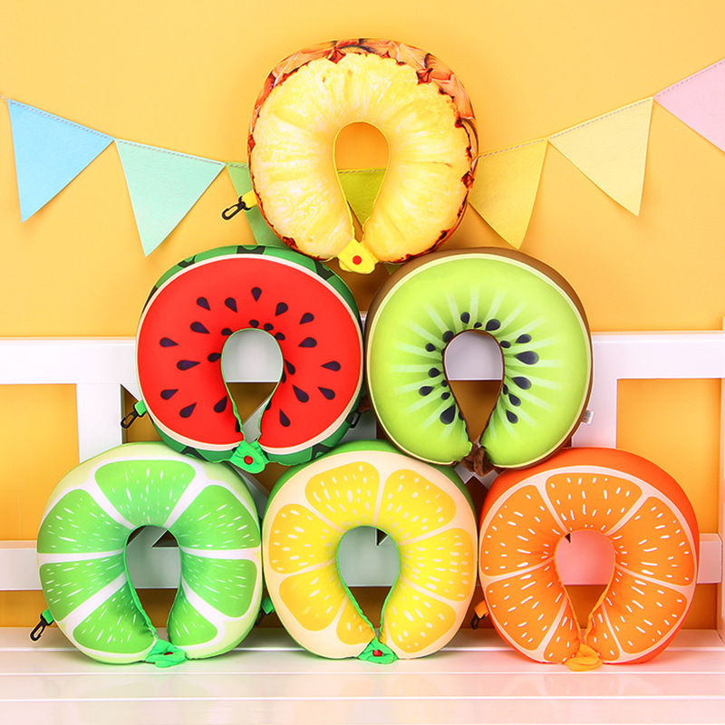 Dynamic 3d Fruit U Shaped Pillow Car Travel Massage Pillow Neck Support Cushion Cushion Nanoparticles Neck Protection Pillow Bbq