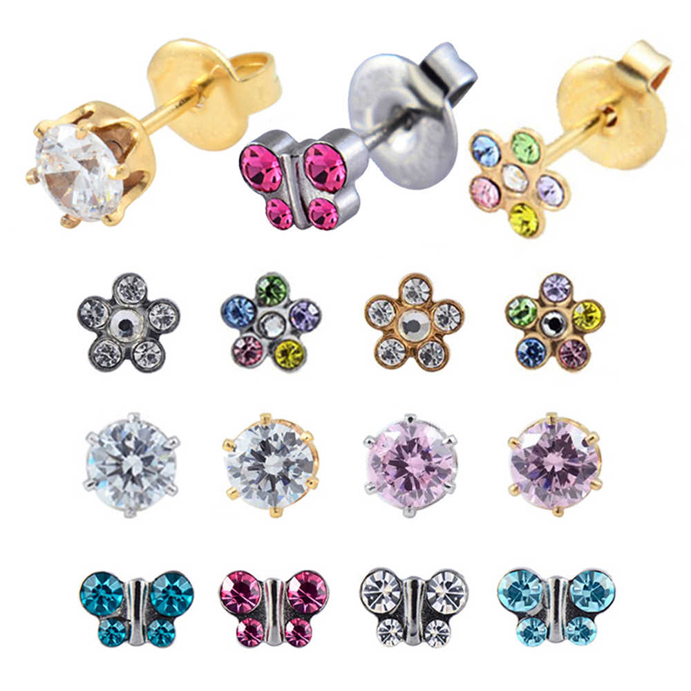 7e4bbf748 12 Pairs Surgical Stainless Steel Birthstone Stud Earrings Piercing Crystal  Ear Stud Jewelry Butterfly Crown Pearl