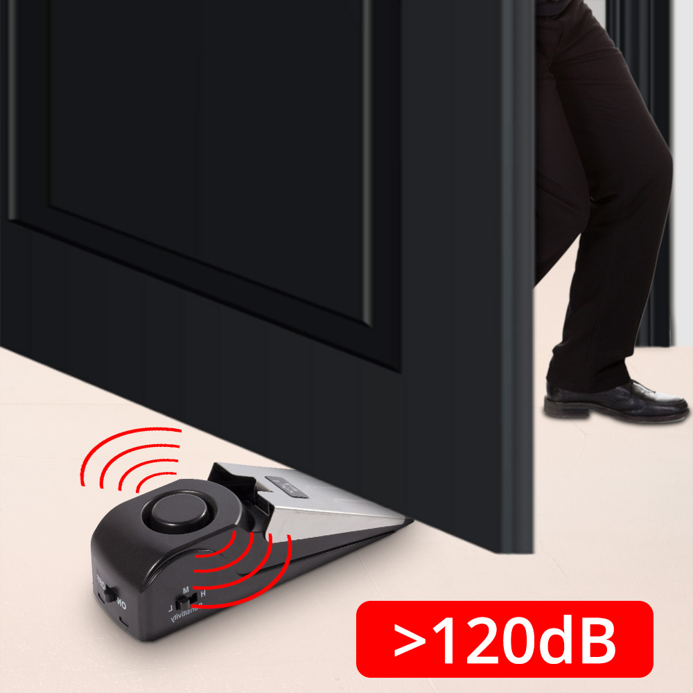 Fuers Wireless Vibration Triggered Home Wedge Shaped Stopper Alert Security System Door Stop Alarm Block Blocking System