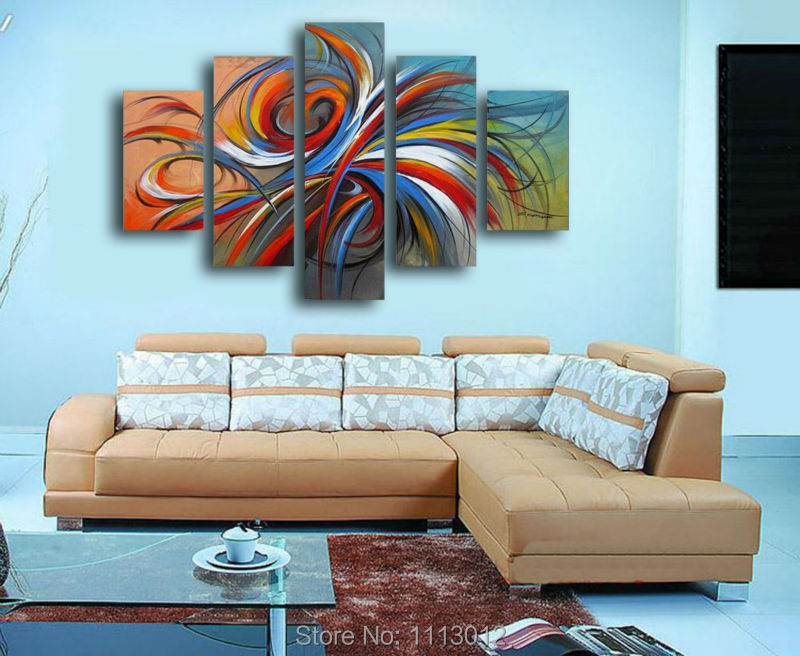 Hot Sale High Quality Abstract Line Oil Painting On Canvas 5 Pcs Sets Home Decoration Modern Wall Art Picture For Living Room