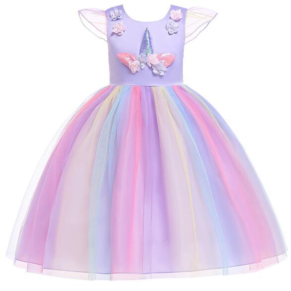 Unicorn Tutu Dress Princess Dress Girls Party Costume Children Kids Flower Girls Unicorn Dress Halloween Costume