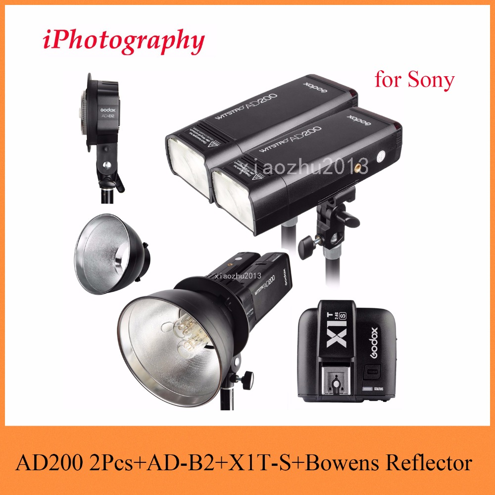 Godox AD200 2.4G TTL Flash 2Pcs + AD-B2 + X1T-S + Bowens Reflector 400W Strobe Flash for Sony патрон для дрели быстрозажимной matrix 16813